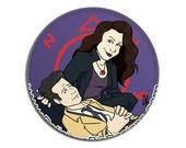 Pinback Button - Supernatural - Castiel and Meg