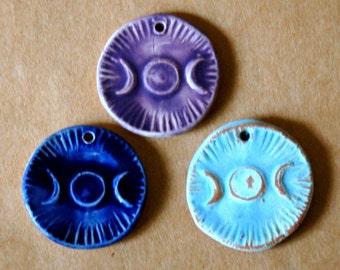 3 Handmade Ceramic Beads - Triple Goddess Moon Beads - Handmade beads in Stoneware