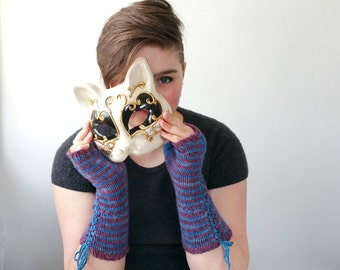 Cashmere  Fingerless Arm Warmers. Handknit Gloves. Purple and Blue Stripes.