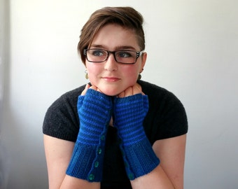 Cashmere Fingerless Gloves. Handknit. Pure Cashmere in Stripey Blues.