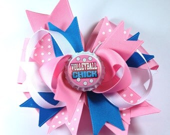 Boutique Volleyball Chick Bottle Cap Hair Bow Clip