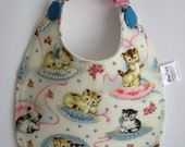 Baby Bib, Cotton Baby Bib, Baby Girl Bib, Toddler Bib, Infant Bib, Cat Bib, Feeding Bib, New Baby Gift, Baby Girl Shower Gift, New Mom Gift