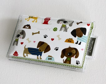 Handmade Vinyl Card Holder - Rover / card case, vinyl wallet, snap, women's wallet, small wallet, dogs, puppies, pets, woof