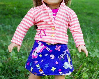 American Girl Doll Skirt: My Little Pony on Purple