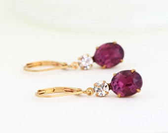 Purple Burgundy Earrings, Maroon Earrings, Burgundy Jewels, Jewel Earrings, Burgundy Wedding Earrings, Drop Earrings, Bridesmaids Gifts