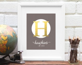 Monogram Art Print - Personalized Last Name Wedding Gifts, Established Sign, Bridal Shower Gift, Faux Gold Foil - Art Print