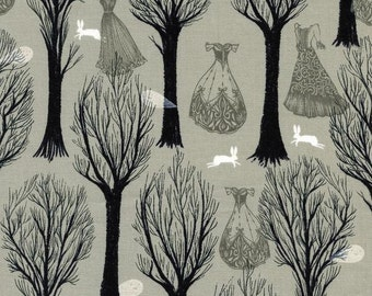 Haunted Forest in Grey by Sarah Watts from Spellbound for Cotton+Steel