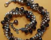 Hand knotted, 4 strand fresh water pearls, semi precious smoky quarts and Bali sterling silver beaded necklace