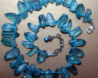 Hand knotted chunky blue luster stone, blue fresh water pearl and Bali sterling silver necklace