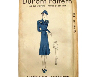 """Rare vintage Uncut """"Three in One"""" 1939 DuPont Sewing Pattern for Women's Dress"""
