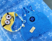 Hand crocheted minion set for baby 0-3 months hat and romper beautiful work