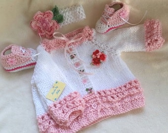 Hand knitted Sweater, crocheted high top sneakers and coordinated headband for Baby girl 0-3 months or reborn doll