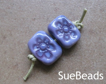 Lampwork Beads - SueBeads - Bead Pairs - Glass Bead Pairs - Violet Purple Flower Beads - Handmade Lampwork Beads - SRA M67