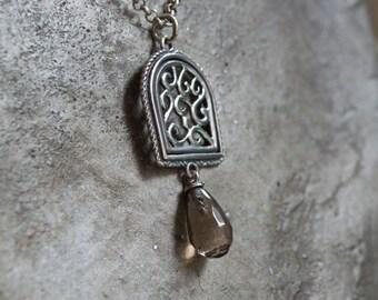 Smoky quartz necklace, boho necklace, silver necklace, bohemian jewelry, simple pendant, drop necklace, gypsy necklace - Your illusion N2002