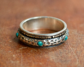Meditation ring, multistone ring, spinner ring, silver gold ring, teal turquoise ring, boho ring, unisex band - Mysterious ways R2275