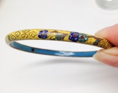 Yellow Cloisonné Enamel Bangle Bracelet - Royal and Turquoise Blue Flowers