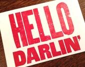 HELLO DARLIN' 6 hand printed letterpress mini prints post cards