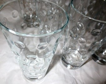 9 Hazel Atlas Dot Glasses High Ball Barware Glassware -