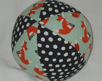 Light Blue Forest Friends Fox Fabric Boutique Ball Rattle Toy