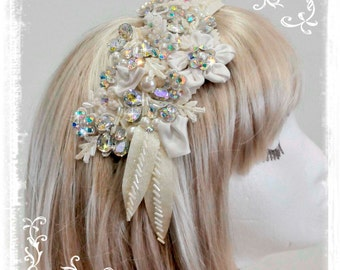 Ivory Bridal Hair Piece Clip .flowers,lace,pearls. stones...Wedding.. formal..bridesmaids..flower girl. hats or garments