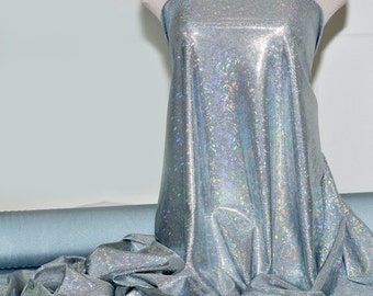 Shattered Glass Hologram Spandex Baby Blue Fabric ...dance...cheer bows...gymnastics...costume..crafts...pageant