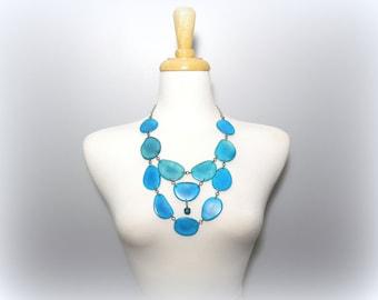 Sky Blue Eco Friendly Tagua Nut Necklace Bib with Free USA Shipping #taguanut #ecofriendlyjewelry