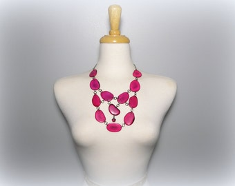 Fuchsia Hot Pink Acai Seed and Tagua Nut Bib Statement Eco Friendly Necklace with Free USA Shipping #taguanut #ecofriendlyjewelry