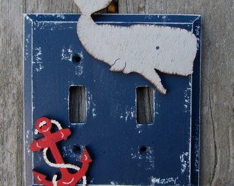 WHALE Kids Switch Plate Cover - Original Hand Painted Wood - Personalized Option