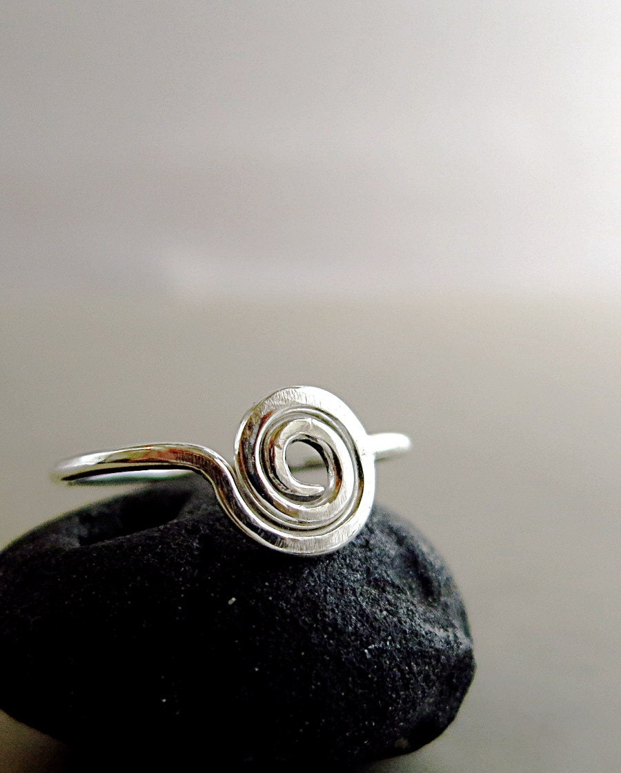spiral ring sterling silver circle ring everyday jewelry