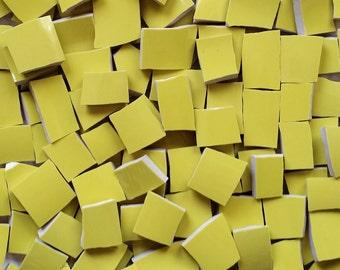 Mosaics Tiles-Chartreuse- Yellowish Green--Great filler tiles- 100 tiles--Sale