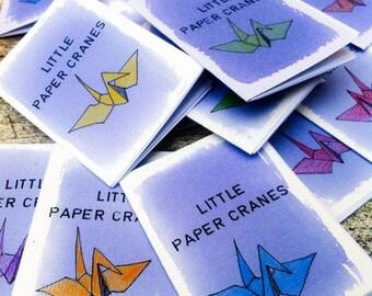 Poetry Zine A7 Mini Zine - Handmade OOAK Covers, Little Paper Cranes Haiku Zine