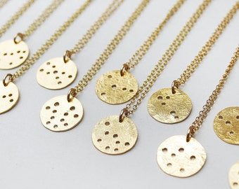 Mini constellation vacation brass zodiac necklace