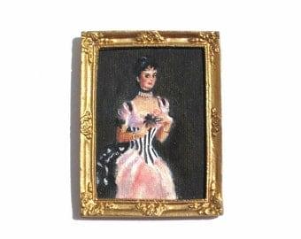 Dollhouse Miniature Oil Painting 1:12 Scale Lady Portrait Signed Bobi Gold Frame John Singer Sargent Reproduction