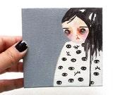 girl painting, eyes