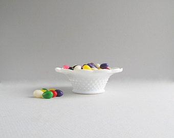 Small Vintage Milk Glass Hobnail Dish, Small Milk Glass Bowl
