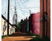 Back Alley City Street Urban Buildings landscape original oil painting