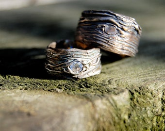 Wedding Rings. Silver. GAER WOODS Artisan set  Tree Bark His and Hers  Wide bands 4mm White Sapphire nature jewelry