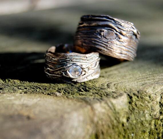 Wedding Rings Silver GAER WOODS Artisan Set Tree Bark His And Hers
