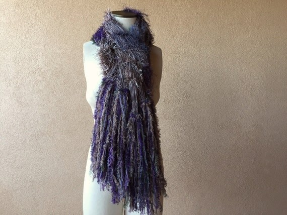 Purple Knit Purple Scarf Wrap Purple Shawl Grey Purple Shawl with Taupe, Sage Green and Forest Green, Long Fringe Shawl