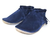 Soft Sole Eco Friendly Blue Leather Baby Shoes Moccasins 12 to 18 Month