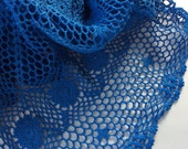 Hand Dyed Crocheted Sapphire Blue Shawl from Small Recycled Tablecloth