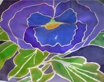 Serti Painted Purple Pansies Silk Scarf
