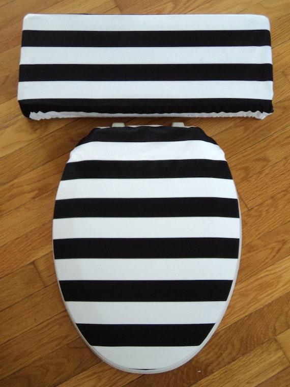Si ge de toilette rayure noir et blanc et le couvercle du - Toilette noir et blanc ...