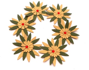 Hand Punched Die cut Paper Flowers, Pointy, Gold and Green, for Scrapbooking Layouts, Card Embellishments, Card Supply
