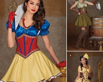 Simplicity Pattern 1093-Lolita Tinker Bell, Snow White and Belle Inspired Costume Size 6-14