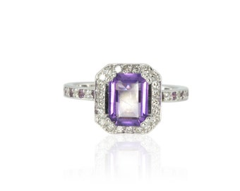 Emerald Cut Engagement Ring, Amethyst Ring with Amethyst and Diamond Eternity Shank - LS2638