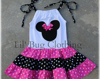 Custom Minnie Mouse Pink and Black White Polka Dot  Tiered Dress