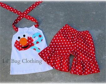 Elmo Birthday Girl Outfit, Elmo Short Halter Top Outfit, Red White Polka Dot Elmo Outfit, Custom Boutique Girl Outfit