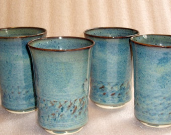 Buy One or More Blue Pottery Tumblers 10 to 12 ounce capacity Wheel Thrown and Chattered