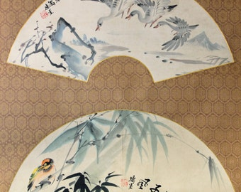 Double Fan scroll water color painting on canvas, Cranes and Bamboo leaves, artist signed - Scroll110